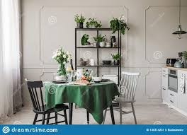 100 Elegant Apartment Breakfast On Table In Stylish Grey Kitchen In