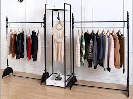 European High Grade Iron Creative Men And Women Clothing Store Display Racks Island Shelf Floor