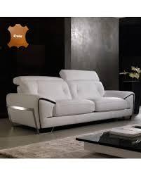 canapé cuir noir canapé cuir contemporain têtières relevables piétement chrome