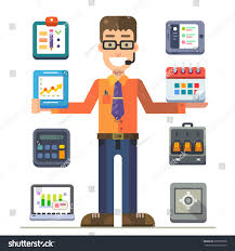 Front Desk Manager Salary Nyc by Office Manager Presentation Charts Graphs Working Stock Vector
