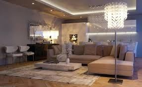 Living Room Spotlights Ideas Modern Open Design With Freestanding Crystal Lighting And Recessed