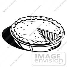 Clip Art Graphic of a Black And White Pumpkin Apple Pie Missing A