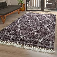 teppich wohnzimmer shaggy rauten terracotta