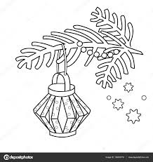 Coloring Page Outline Of Christmas Decoration Paper Flashlight Tree Branch New Year