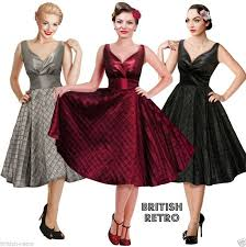 British Retro Swing Evening Dress Vintage 1950s 1960s Party Wedding Prom