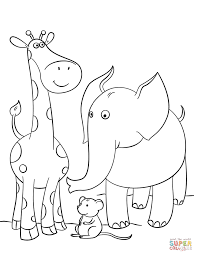 Click The Giraffe Mouse And Elephant Coloring Pages