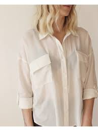white sheer roll up sleeve blouse dear society