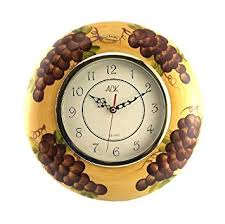 Grape Wall Decor For Kitchen by Amazon Com Tuscany Kitchen Decor Grape Wall Clock Home U0026 Kitchen