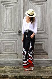 Tribal Print Maxi Skirt Outfit