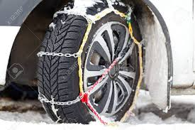 100 Snow Chains For Trucks Photo Of A Vehicle Tyre With On A Frozen Road Stock