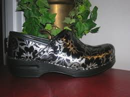 dansko silver floral patent leather professional clogs women u0027s