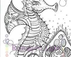 Zentangle Seahorse Coloring Page Meditation Aquatic Adult