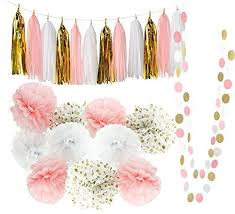 qian s party baby pink gold white baby shower decorations for girl