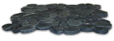 sliced charcoal black pebble tile pebble tile shop