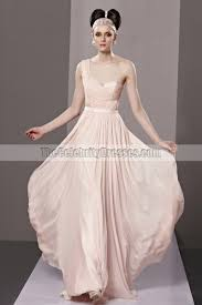 pearl pink one shoulder a line prom gown evening dresses