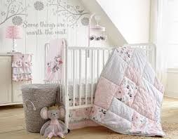 Precious Moments Crib Bedding by Levtex Baby Elise Grey And Pink Floral 5 Piece Crib Bedding Set