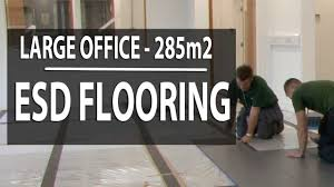 Static Dissipative Tile Testing by Esd Flooring Install In Large Office Ecotile Flooring Youtube