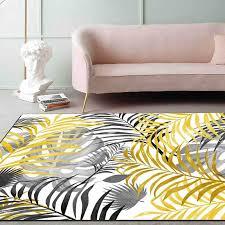 nordic stil wohnzimmer große bereich teppiche frische gelb grau anlage blätter teppich tapete schlafzimmer sofa küche nicht slip boden matten