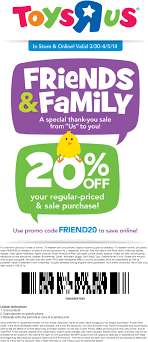 Toys R Us - 20% Off In-store Or Online - Promo Code: FRIEND20 - Exp ... R Club Toys Us Canada Loyalty Program R Us Online Coupons Codes Free Shipping Wcco Ding Out Deals Toysruscom Coupon Active Sale Toy Stores In Metrowest Ma Mamas Toysrus Australia Youtube Home Coupon Codes Super Hot Deals Lego Advent Calendar 50 Discount Until 30 Flyers Cyber Monday Ad Is Live Pinned July 7th Extra Off A Single Clearance Item At