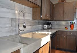 Plank Form Concrete Backsplash Apron Farmers Sink Built In Draining Board Midcentury