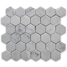 carrara marble tile italian white 2 inch hexagon mosaic