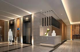 Modern Hotel Reception Desk Elevator Lobby And Service Design Rendering Front
