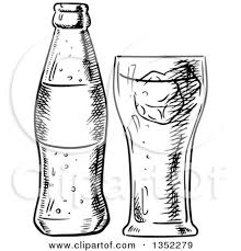 Clipart of a Black and White Sketched Soda and Glass Royalty Free Vector Illustration by Vector Tradition SM
