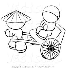 Vector Of Chinese Person Pulling A Customer In Cart