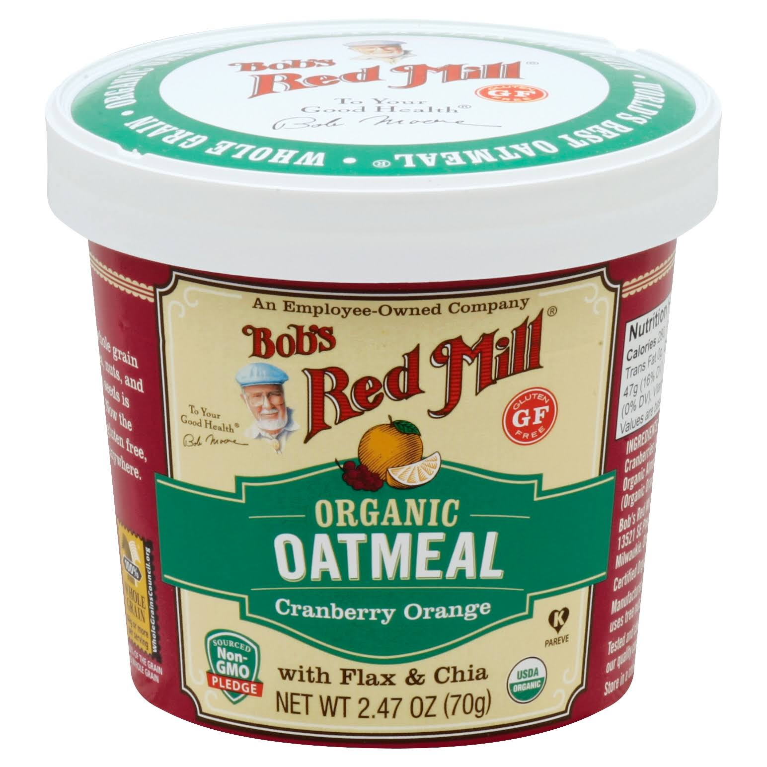 Bobs Red Mill Oatmeal, Organic, Cranberry Orange - 2.47 oz