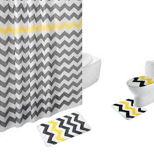 Gray Yellow And White Bathroom Accessories by Amagical 4 Piece Bath Set Shower Curtain And 3 Mats Bathroom