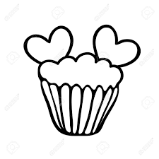cupcake outline clipart black and best photos of outline big cake cupcake outline