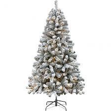 Alaskan Christmas Tree Fir Flocked Pre Lit Green 5ft