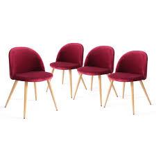 chaise bordeaux colette lot de 4 chaises de salle à manger revêtement en velours