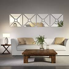 Multipieces 4 Squares DIY Acrylic Mirror Wall Sticker Living Room Dinging Bedroom Decor Art