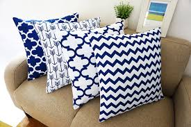 Large Decorative Couch Pillows by Amazon Com Blue And White Howarmer Square Cotton Canvas