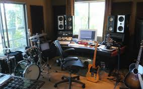 Desk For Home Music Studio With Window Curtain Ideas