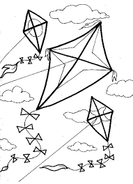 Kite Flies Against Wind Colouring Page