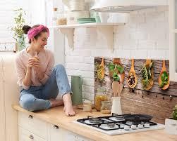 küchen spritzschutz herd granitoptik grazdesign glasrückwand