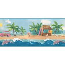 Surfs Up Beach Palm Trees Sea Dolphins 15 L X 1025 W Abstract Wallpaper Border