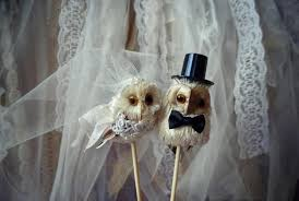 Rustic Owl Wedding Cake Toppers
