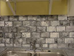 brick looking tile backsplash