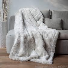 plaid fausse fourrure loup blanc 140x180cm sweet home