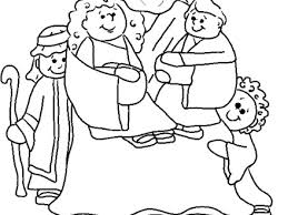 Jesus And Children Color Page Bible Story