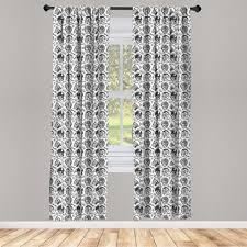 gardine fensterbehandlungen 2 panel set für wohnzimmer schlafzimmer dekor abakuhaus schwarz weiss reiter schä muster kaufen otto
