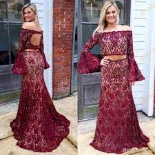 burgundy prom dresses 2017 with long bell sleeves and keyhole back