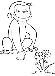Curious George Coloring Pages Seeing Flower