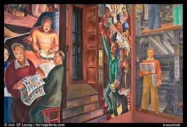 Coit Tower Murals Prints by Picture Photo Frescos And Window Inside Coit Tower San Francisco