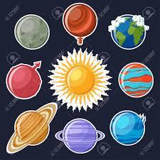 Solar System Sticker Set Cute Cartoon Planets Mercury Venus