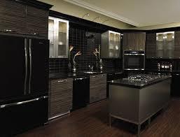 gray kitchen cabinets black appliances home interior decorating
