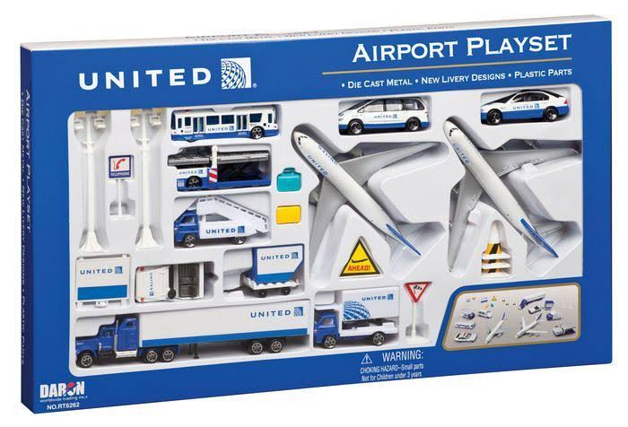 Daron Worldwide Trading RT6262 United Airport Playset - 24 Pieces